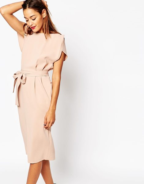 afc1e2db96dc Asos Belted Midi Dress with Split Cap Sleeve and Pencil Skirt in cream