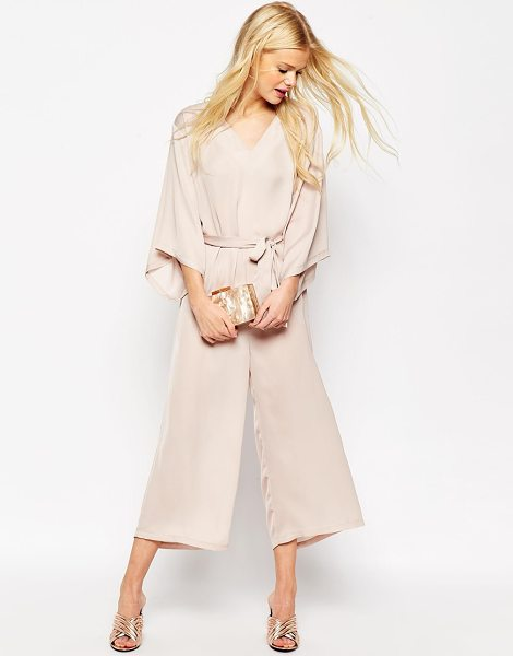 Asos Belted Jumpsuit with Kimono Sleeve in beige - Jumpsuit by ASOS Collection, Woven fabric, V-neckline,...