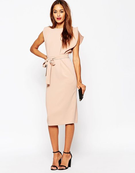 Asos Belted Midi Dress with Split Cap Sleeve and Pencil Skirt in pink - Pencil dress by ASOS Collection, Lined woven fabric,...