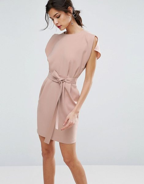 "ASOS Belted Mini Dress with Split Cap Sleeve - """"Dress by ASOS Collection, Smooth woven fabric, Crew..."