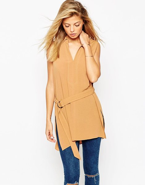 Asos Belted sleeveless utility tunic top in tan - Top by ASOS Collection Lightweight woven fabric Lightly...