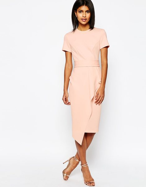 """Asos Belted T-Shirt Waterfall Pencil Dress in pink - """"""""Dress by ASOS Collection, Smooth knitted fabric, High..."""