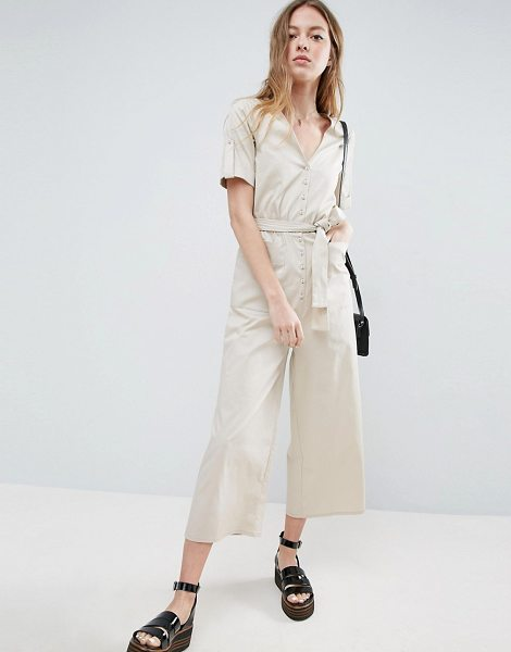 Asos Belted Twill Jumpsuit in beige - Jumpsuit by ASOS Collection, Woven twill, V-neckline,...