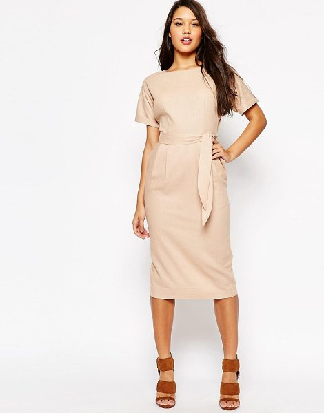 Asos Belted Wiggle Dress in pink - Dress by ASOS Collection, Linen-mix fabric, Boat...
