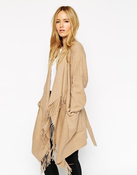 Asos Blanket wrap coat in stone - Blanket wrap by ASOS Collection Mid-weight wool-blend...