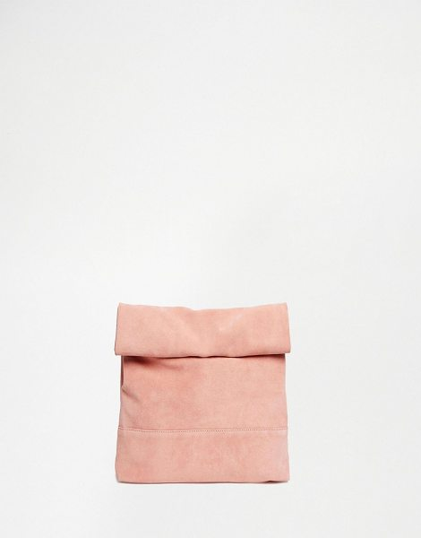 Asos Blocked oversized clutch bag in pink - Clutch bag by ASOS Collection Real suede outer Contrast...