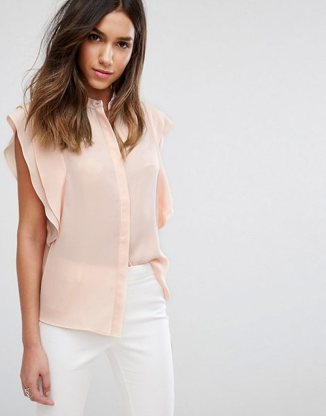 ASOS DESIGN blouse with frill shoulder in nude