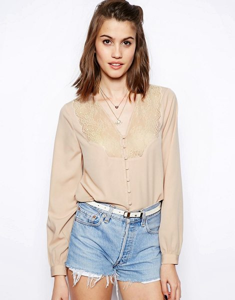 Asos Blouse with V Neck and Lace Insert Placket in pink - Blouse by ASOS Collection, Made from a breathable woven...