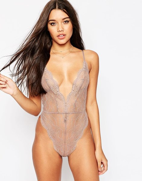 Asos Bobbi Lace Up Back Bodysuit in beige - Body by ASOS Collection, Sheer lace, Scalloped trims,...