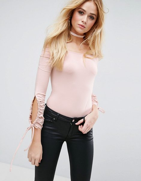 Asos asos body with cold shoulder and ruched sleeves in nude - Body by ASOS Collection, Soft-touch jersey, Bardot...