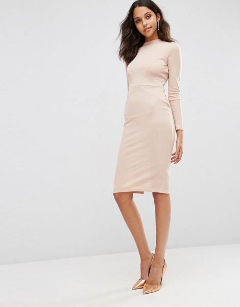 Asos Bodycon Dress with Sexy Seam Detail in Rib in pink