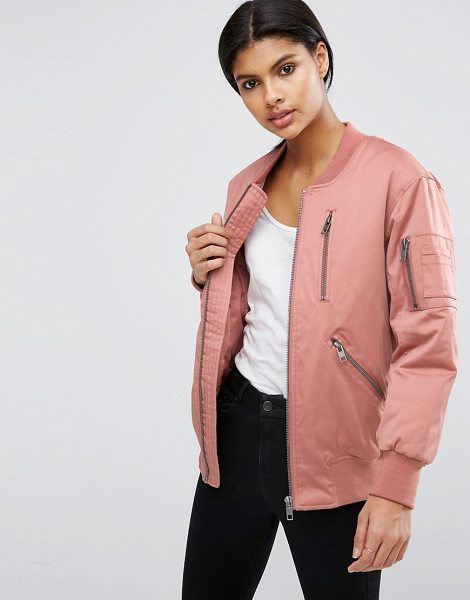 Asos Bomber Jacket with Zip Detail in pink - Bomber jacket by ASOS Collection, Lined woven fabric,...