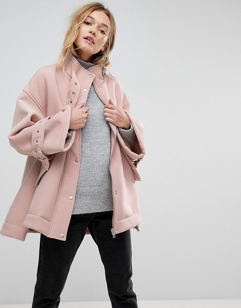 Asos Bonded Jacket with Fleece Lining and Metalwear in pink