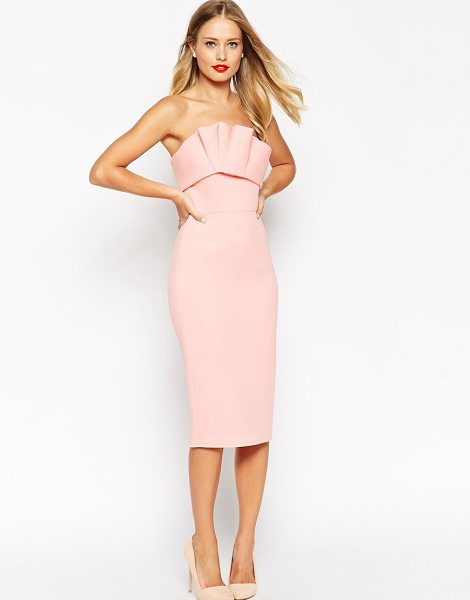 Asos Bonded scuba ruffle bandeau dress in nude - Dress by ASOS Collection Lightweight scuba Bandeau...