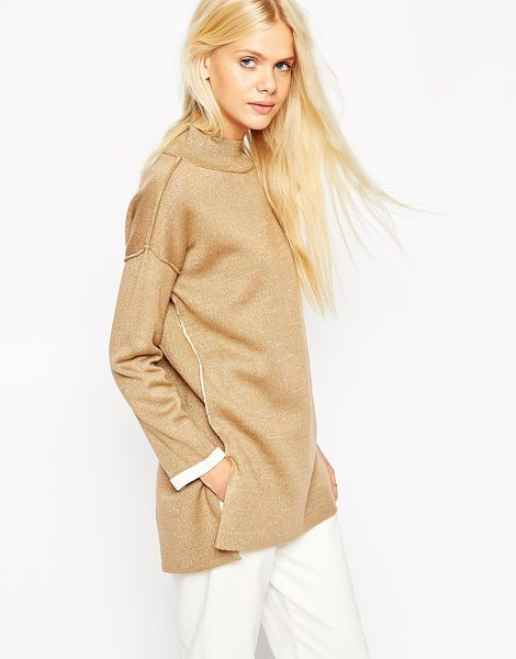 Asos Bonded sweater with turtleneck in camel - Sweater by ASOS Collection Bonded stretch knit Medium...