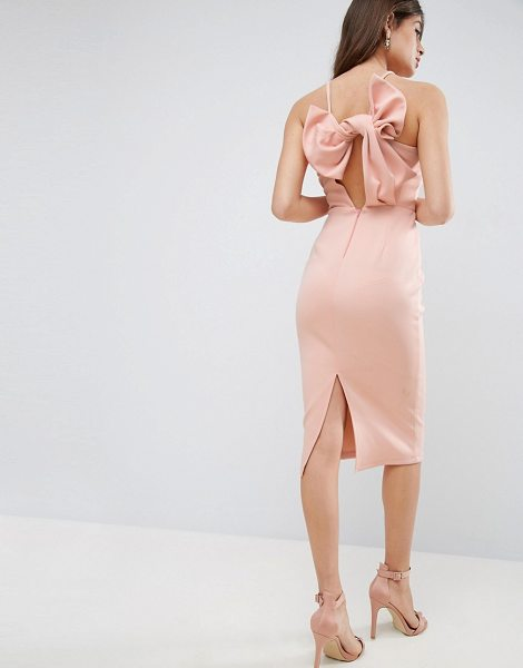 Asos Bow Back Scuba Midi Pencil Dress in pink - Pencil dress by ASOS Collection, Scuba-style fabric,...