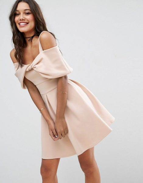 Asos Bow Front Off The Shoulder Bardot Skater Mini Dress in pink - Skater dress by ASOS Collection, Scuba-style fabric,...