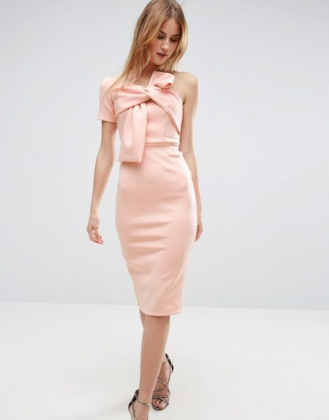 "Asos Bow One Shoulder Scuba Midi Dress in pink - """"Midi dress by ASOS Collection, Smooth scuba fabric,..."