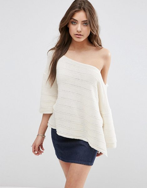 Asos Boxy Sweater With Off Shoulder Neck in cream - Sweater by ASOS Collection, Chunky knit, Off-shoulder...