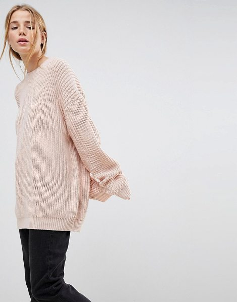 ASOS boyfriend sweater in chunky rib in nude - Sweater by ASOS Collection, Crew neck, Dropped...