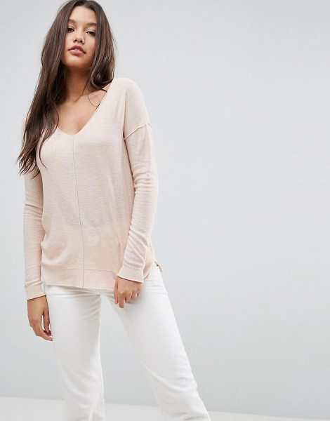"Asos Boyfriend Sweater With V Neck in pink - """"Sweater by ASOS Collection, Soft-touch knit, V-neck,..."