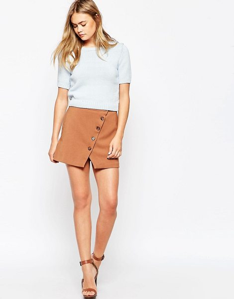 Asos Button through a-line skirt in brown - Skirt by ASOS Collection, Woven fabric, High fitted...