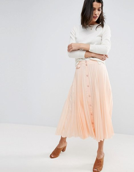 "ASOS Button Through Pleated Midi Skirt - """"Midi skirt by ASOS Collection, Lined woven fabric,..."