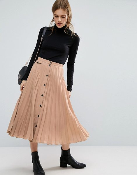 Asos Button Through Pleated Midi Skirt in brown - Skirt by ASOS Collection, Lightweight pleated fabric,...