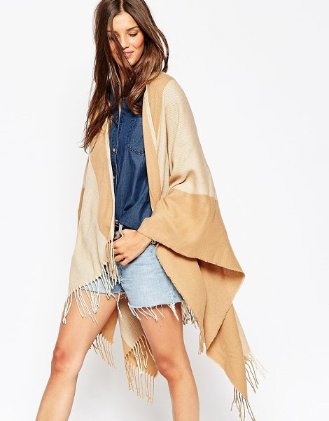 Asos Camel stripe cape with tassels in camel - Cape by ASOS Collection Woven fabric Striped design Open...