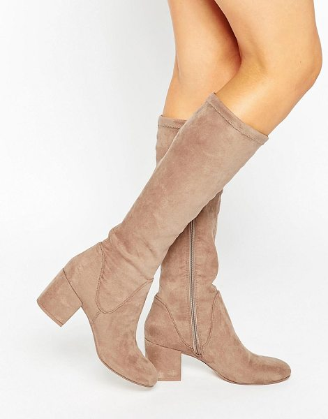 Asos CAMERON Knee High Boots in beige - Boots by ASOS Collection, Faux-suede upper, Side zip...