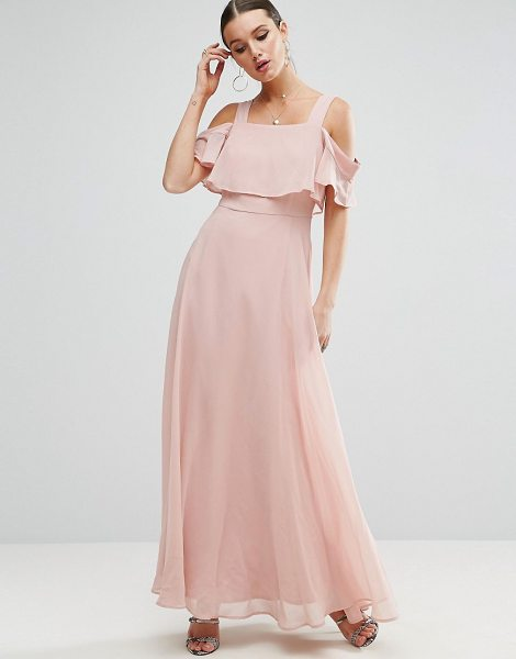 """Asos Cami Cold Shoulder Flutter Sleeve Maxi Dress in beige - """"""""Maxi dress by ASOS Collection, Smooth woven fabric,..."""
