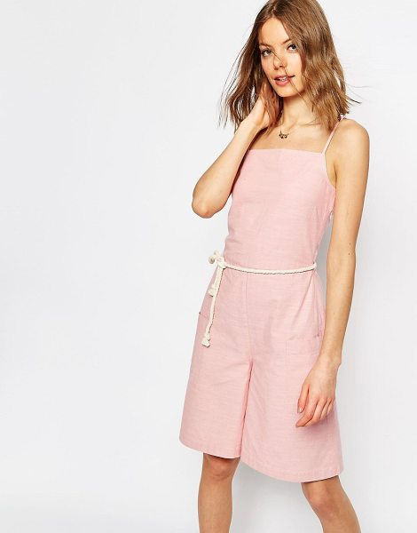 Asos Cami Romper with Rope Belt in cream - Romper by ASOS Collection, Lightweight woven cotton,...