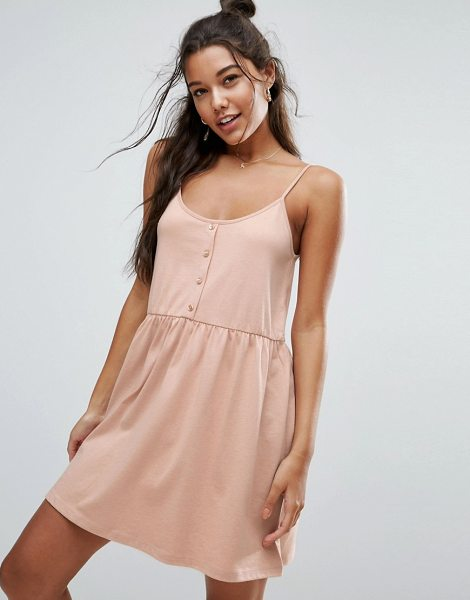 Asos Cami Smock Dress with Button Placket in pink - Dress by ASOS Collection, Soft-touch jersey, Scoop...