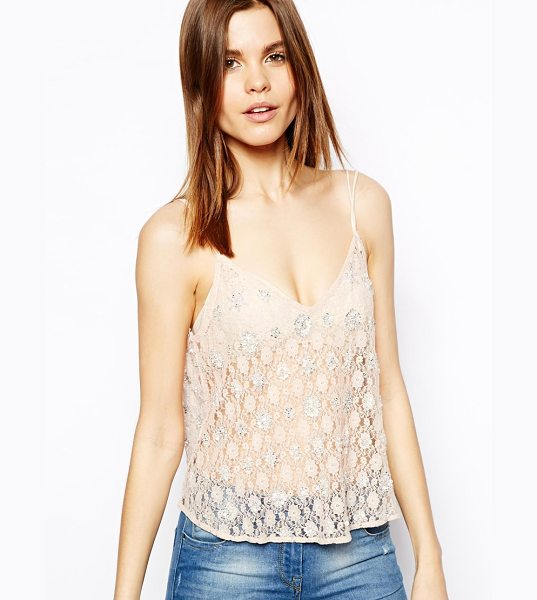 Asos Cami Top in Beaded Lace in pink - Top by ASOS Collection, Made from sheer lace fabric,...