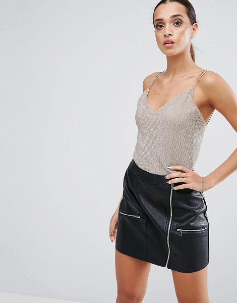 Asos Cami Top in Metallic Shimmer in gold