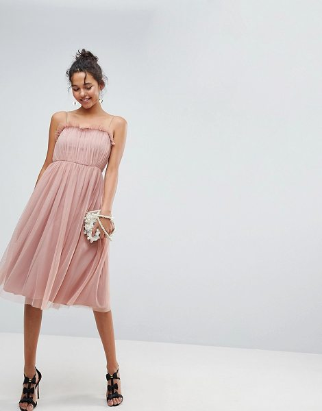 ASOS DESIGN cami tulle midi dress with pretty ruffle in pink