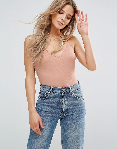 """ASOS Cami With Skinny Straps in Rib - """"""""Tank by ASOS Collection, Stretch rib, V-neck, Cami..."""