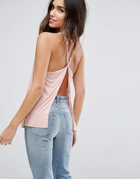 "Asos Cami with Square Neck and Sexy Split Back in pink - """"Top by ASOS Collection, Soft-touch jersey, High square..."