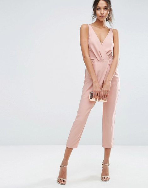 Asos Cami Wrap Jumpsuit with Peg Leg in pink - Jumpsuit by ASOS Collection, Woven fabric, Wrap front,...