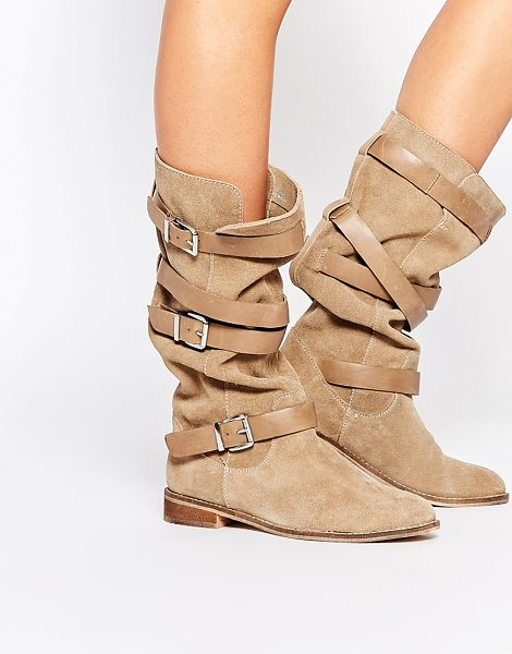 Asos CANDID Suede Knee High Boots in beige - Boots by ASOS Collection, Real suede upper, Round toe,...