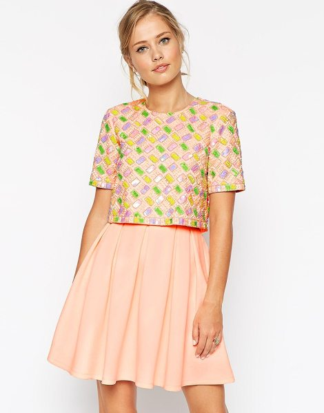 Asos Candy embellished t-shirt crop top scuba skater dress in pink - Dress by ASOS Collection Scuba fabric Crew neckline Crop...