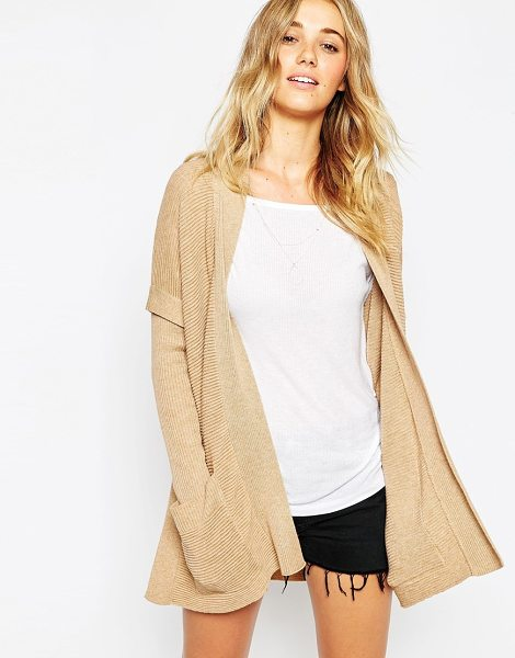Asos Cape cardigan in ripple stitch in camel - Cardigan by ASOS Collection Ribbed ripple knit Open...