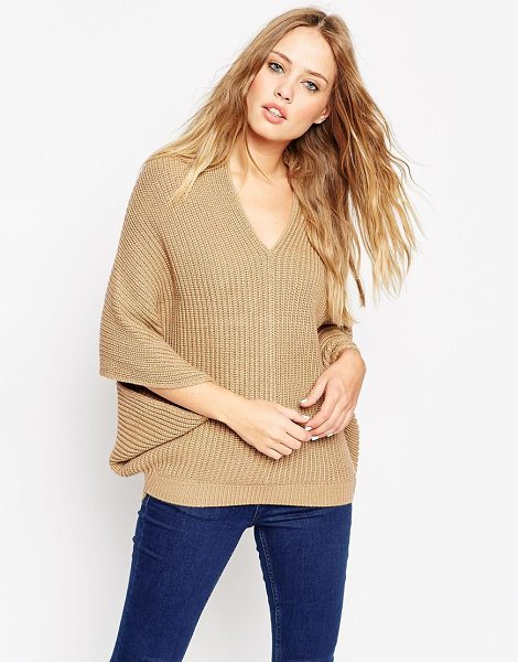 Asos Cape Sweater With V-Neck in beige - Sweater by ASOS Collection, Chunky knit, V-neckline,...