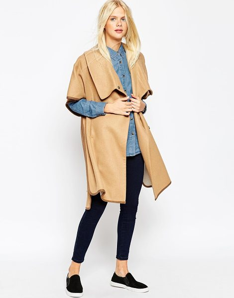 Asos Cape with funnel neck in camel - Coat by ASOS Collection Wool-mix Fully lined Funnel...