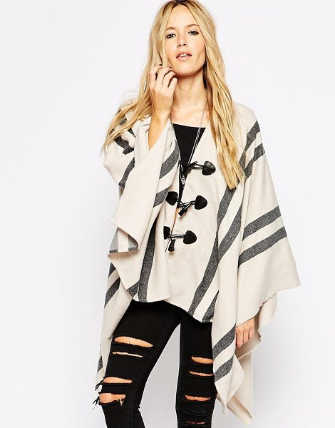 ASOS Cape with stripe panel and toggle detail - Cape by ASOS Collection Woven fabric Toggle fastening to...