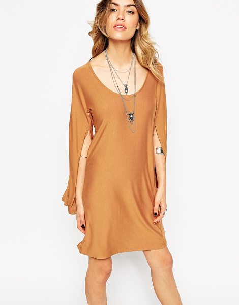 Asos Caped sleeve dress in tan - Dress by ASOS Collection Soft-touch stretch jersey Scoop...
