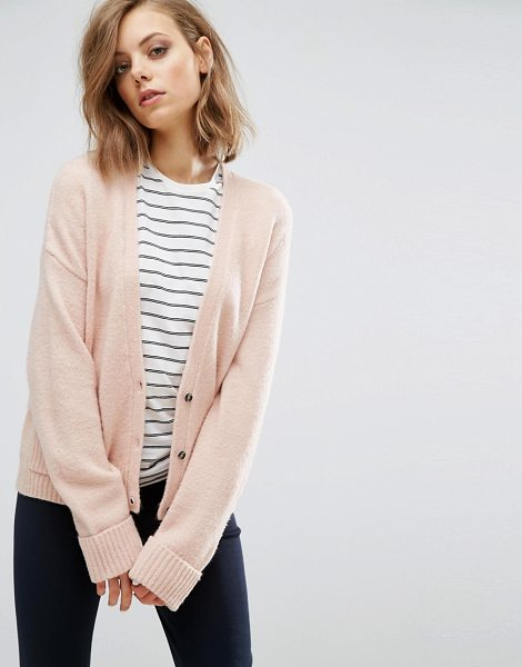 Asos Cardigan in Wool Mix with Pockets in pink - Cardigan by ASOS Collection, Midweight wool-mix fabric,...