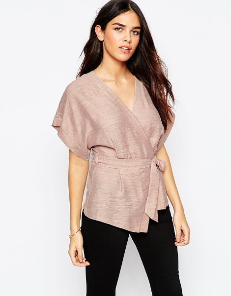 Asos Casual Obi Band Wrap Blouse in pink - Top by ASOS Collection, Lightweight woven fabric, Light...