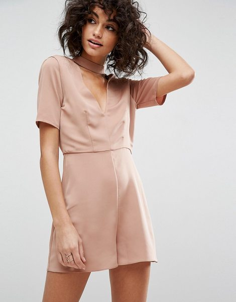 "ASOS DESIGN asos choker detail romper in rose - """"Romper by ASOS Collection, Woven fabric, Plunge neck,..."