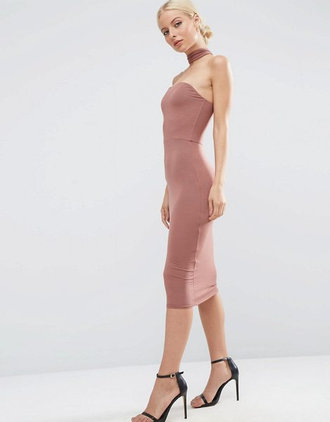 """Asos Choker Midi Pencil Dress in beige - """"""""Midi dress by ASOS Collection, Stretch jersey, Bandeau..."""